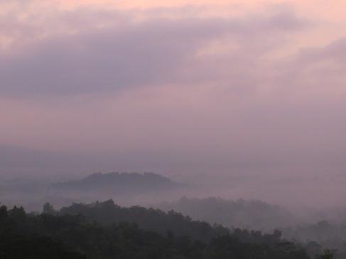 Sunrise over Borobudur from