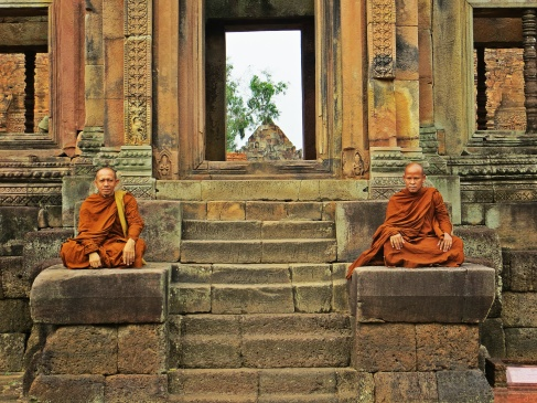 Buddhist monks at Phonom Rung, Isaan.