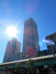 Sunny high rises as you exit the station
