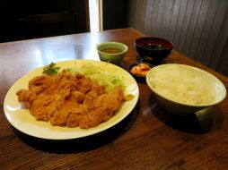 Chicken-katsu lunch at a mom-and-pop style restaurant. Basically breaded chicken fillet with rice, soup and kimchi.