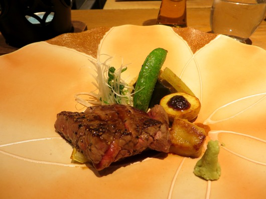 Hakata wagyu beef served with wasabi