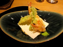 Tempura of spring vegetables served with green tea salt