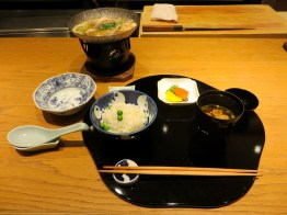 Nabe course served with white rice/green peas, pickles and miso soup