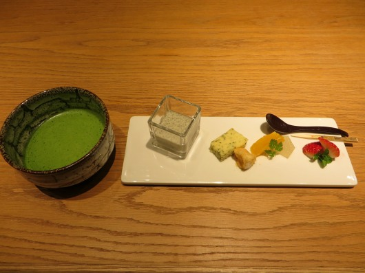 Mizumono desert course: blsack sesame seed pudding; sakura leaf cake; fried mochi rice cake; fruit. Served with freshly prepared matcha.