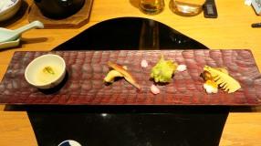 Homemade tofu; Sawara spring fish; Fukinoto tempura; Ayu & bamboo