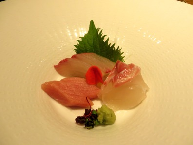 Tuna and seabream, with separate sesame oil and soy dipping dishes