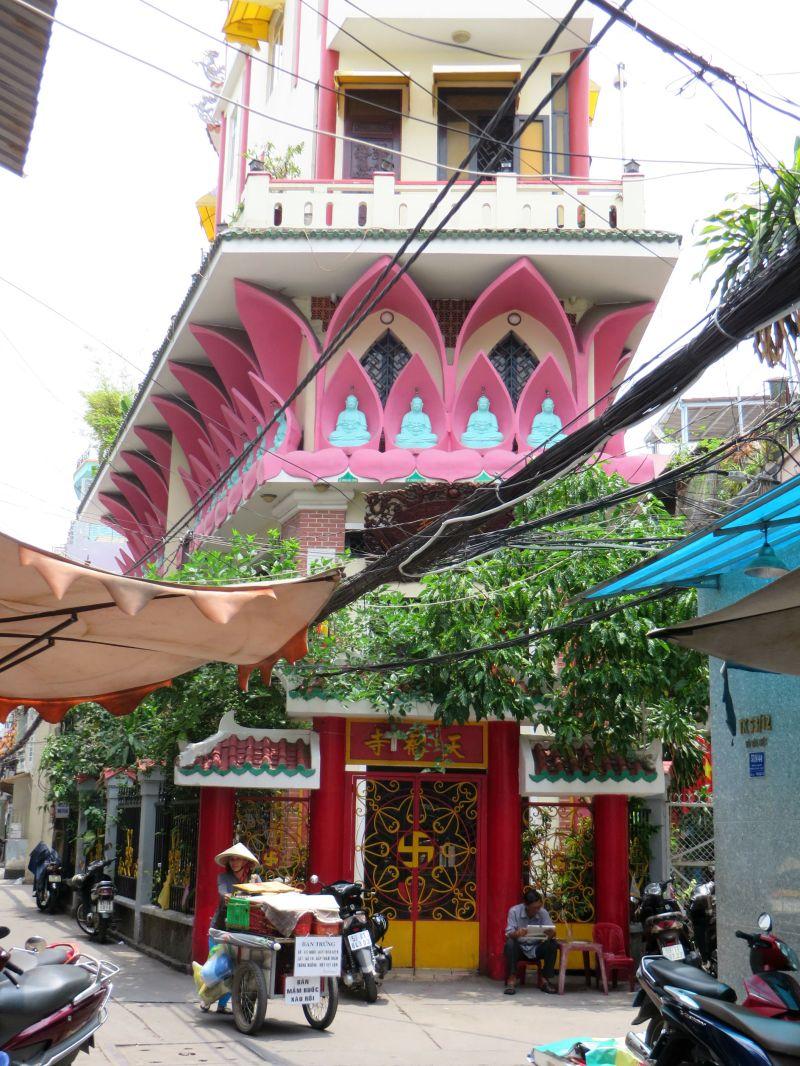 Colourful temple at Tran Hung Dao