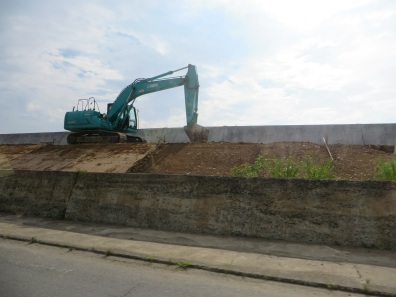 Construction is ongoing on the sea wall along the coast