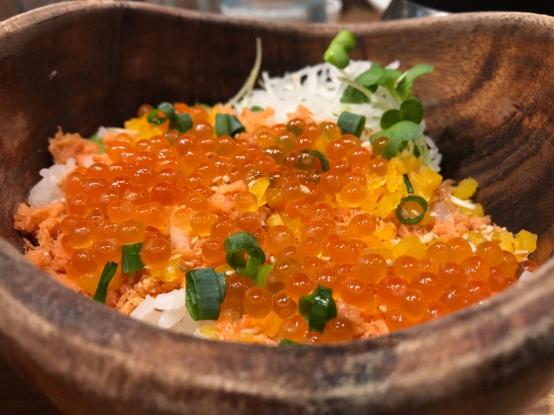 Cod roe eggs over rice