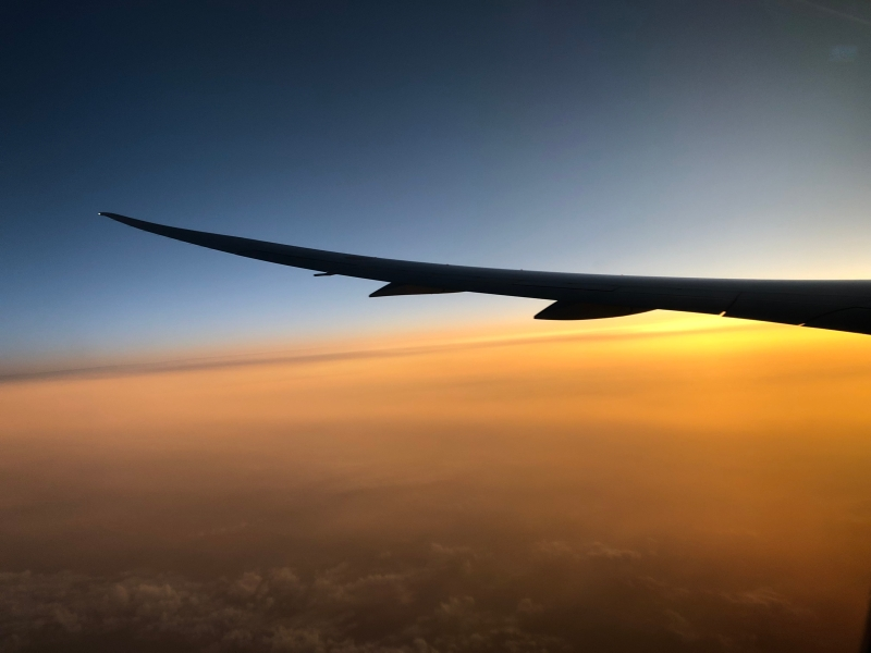 sunset in American flight