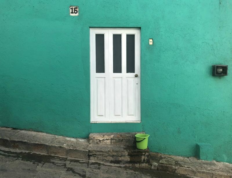 Guanajuato Mexico green wall door