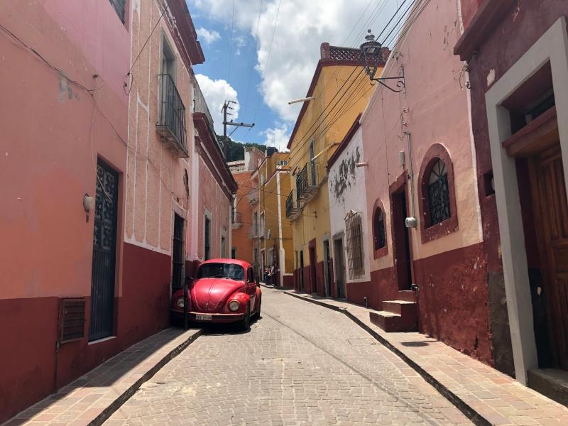 Guanajuato Mexico red street scene