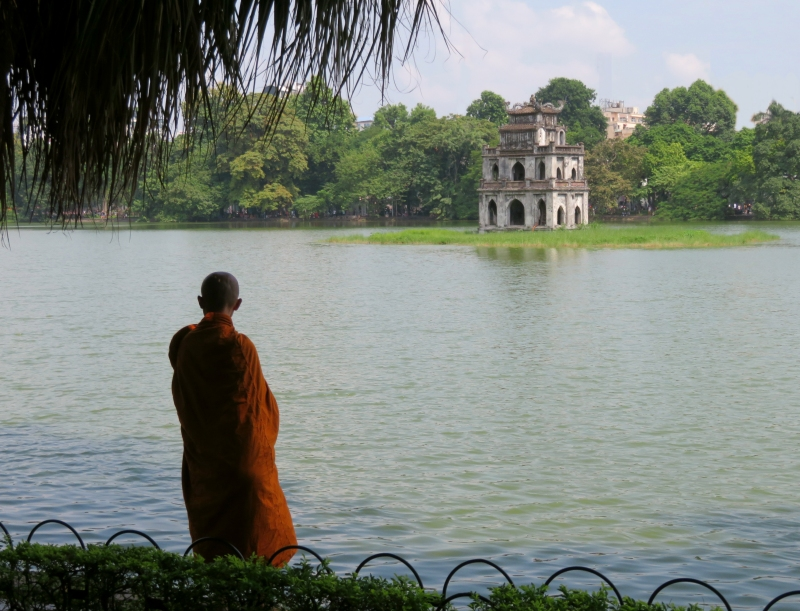 Hanoi monk lake Vietnam
