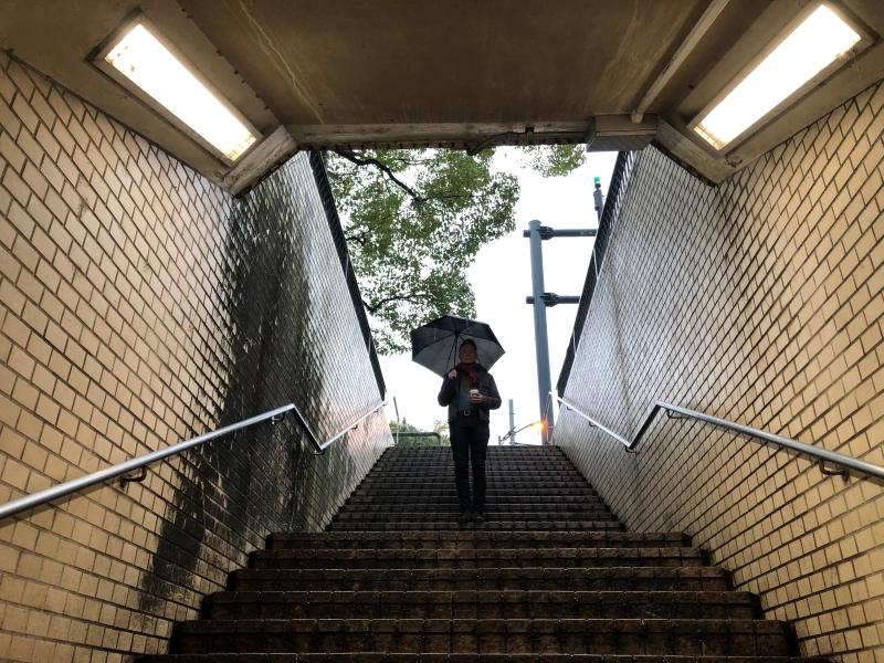 Hiroshima shelter from the rain