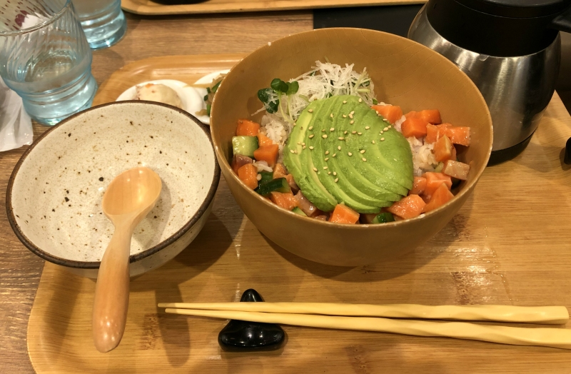 Ochazuke with salmon and avocado