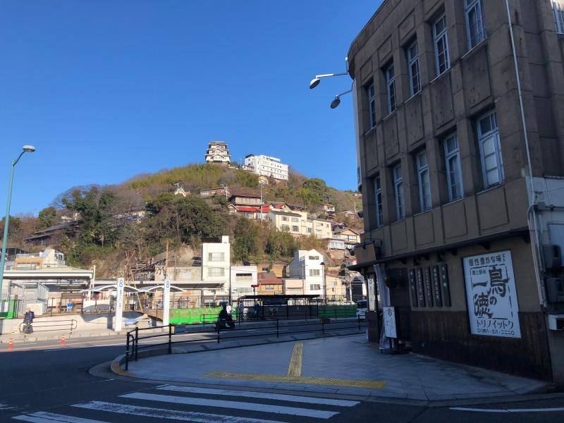 Onomichi view outside station mountain