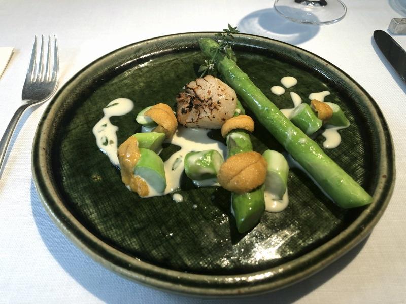 Narisawa green asparagus scallop