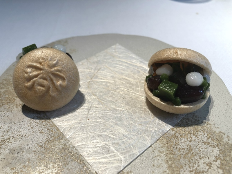 Narisawa sweets served with matcha